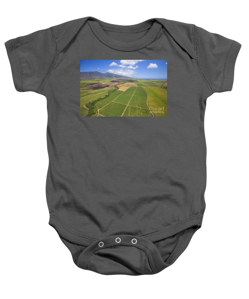 Above Baby Onesie featuring the photograph Maui Farmland by Ron Dahlquist - Printscapes