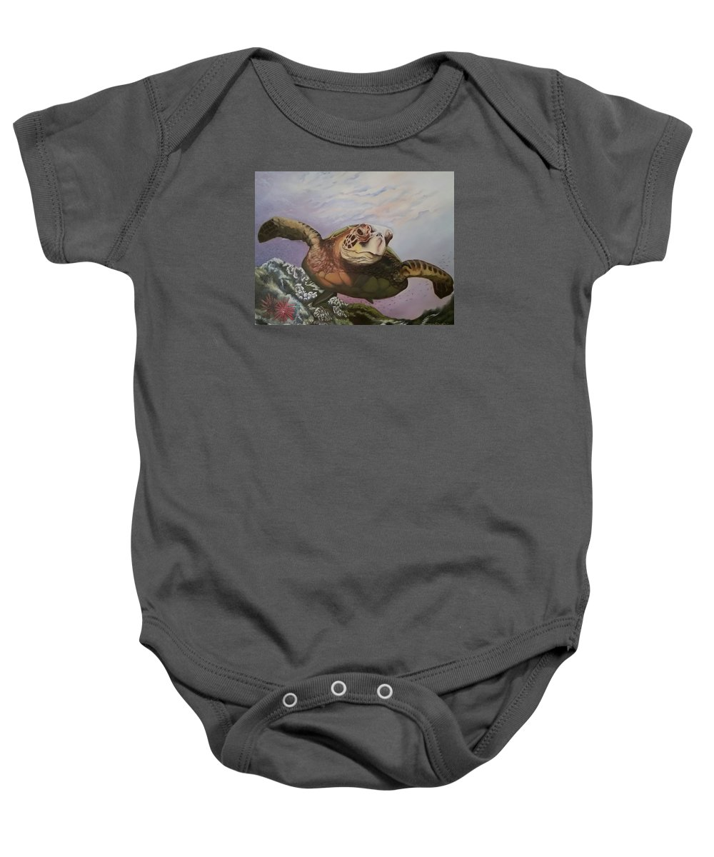 Sea Turtle Baby Onesie featuring the photograph Maui Sea Turtle by Lorraine Wilcox