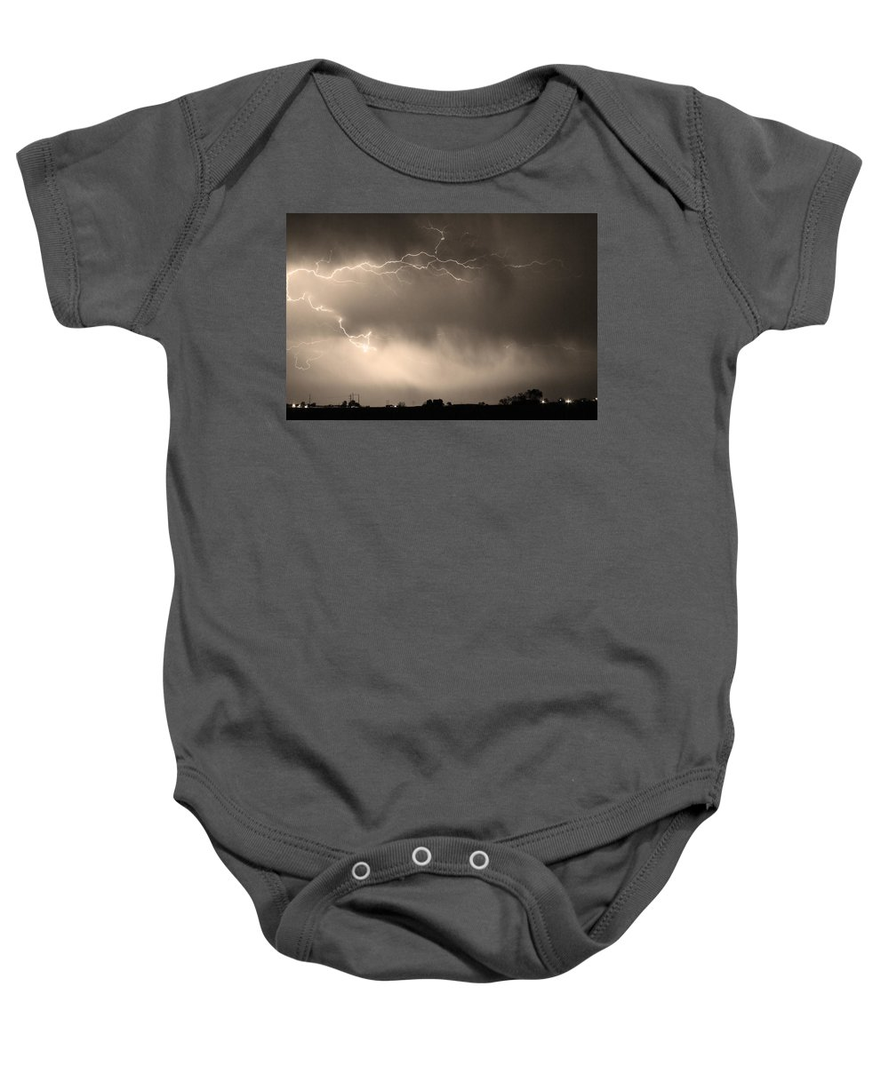 Bo Insogna Baby Onesie featuring the photograph May Showers 2 In Sepia - Lightning Thunderstorm 5-10-2011  by James BO Insogna