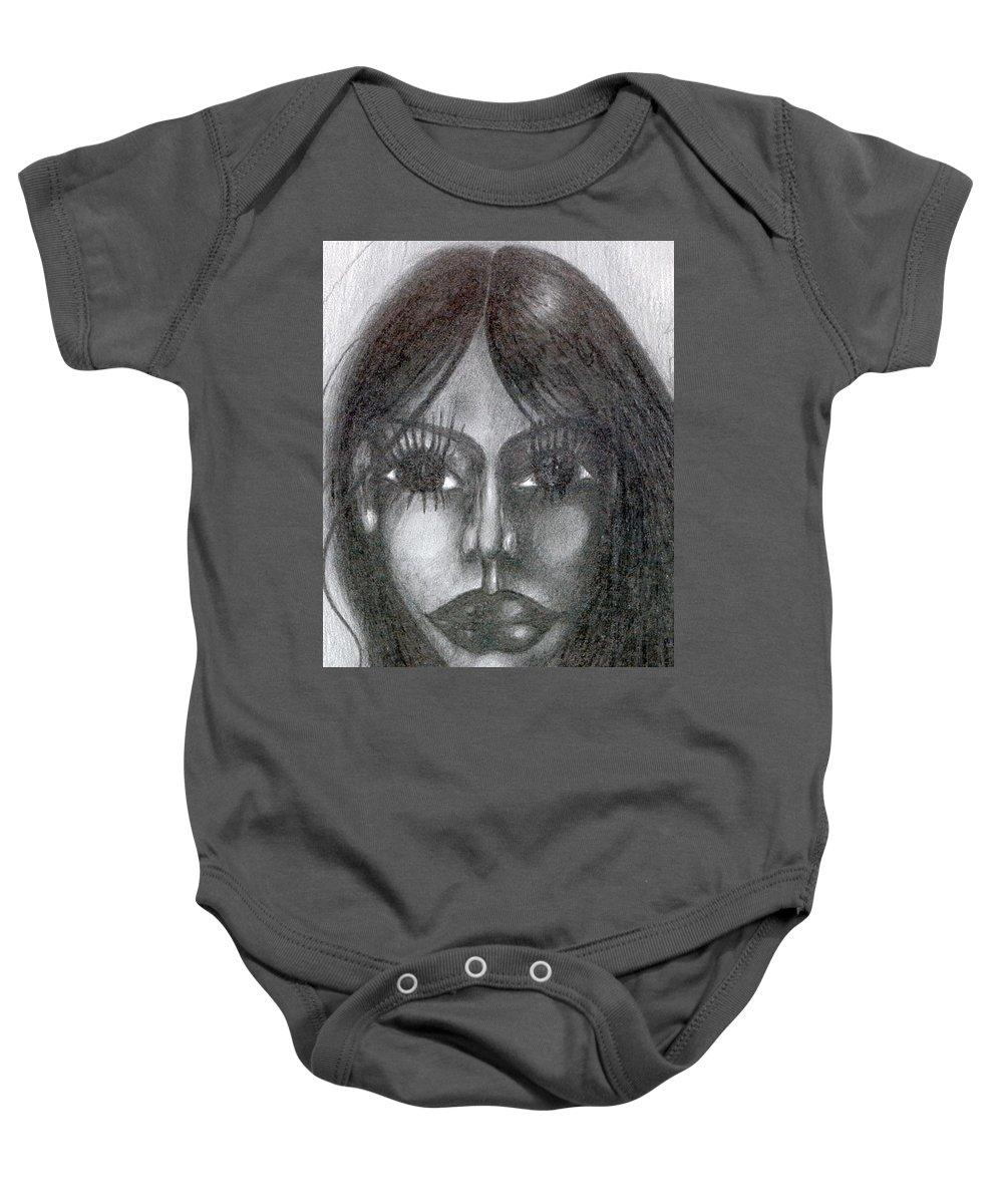 Psychedelic Baby Onesie featuring the drawing Maya by Wojtek Kowalski