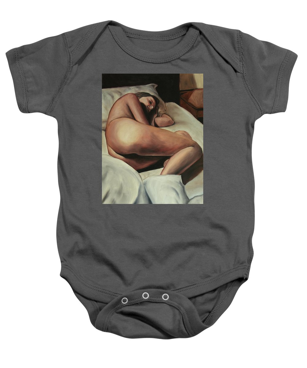 Nude Baby Onesie featuring the painting Maybe I'm Sleeping by Stanimir Stoykov