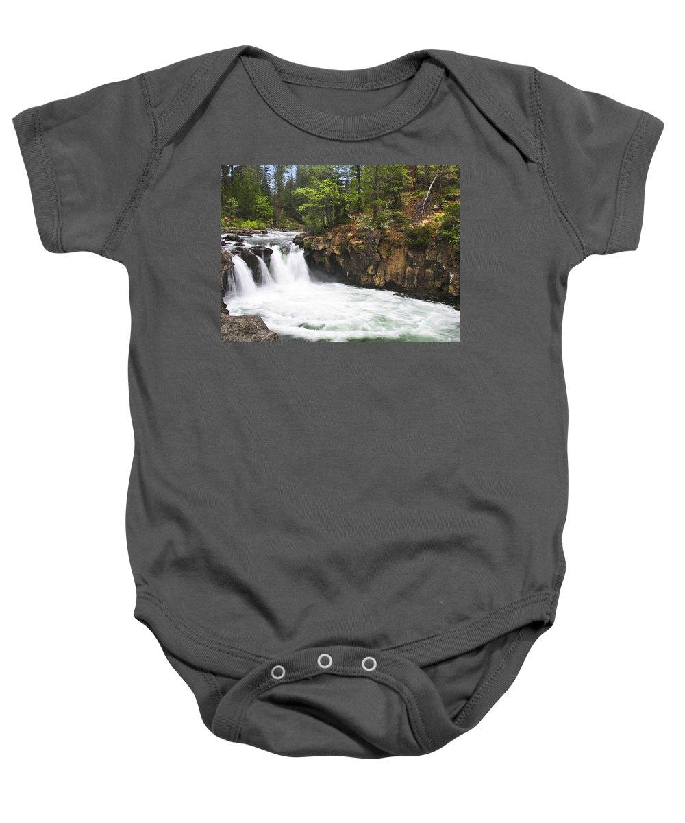 Landscape Baby Onesie featuring the photograph Mccloud Lowerfalls by Karen W Meyer