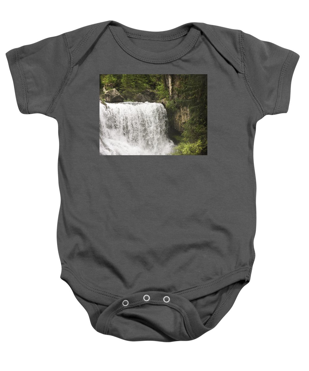 Waterfalls Baby Onesie featuring the photograph Mccloud Upper Falls by Karen W Meyer