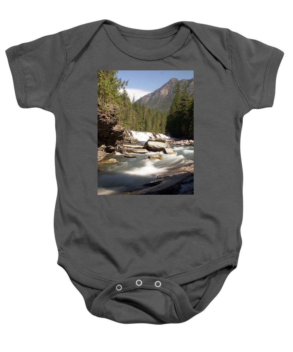 Stream Baby Onesie featuring the photograph Mcdonald Creek by Marty Koch