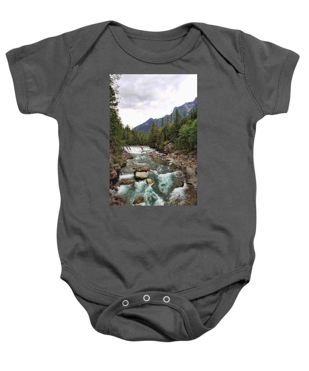 Glacier National Park River Stream Creek Water Waterfall Nature Natural Mountain Baby Onesie featuring the photograph Mcdonald Falls - Glacier by Shari Jardina