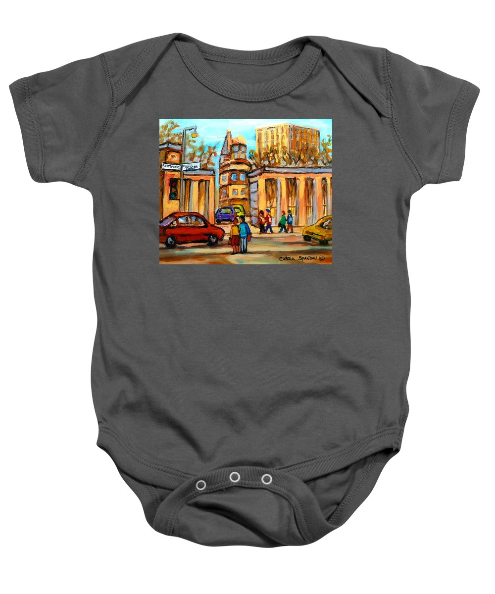 Montreal Cityscapes Baby Onesie featuring the painting Mcgill Roddick Gates by Carole Spandau