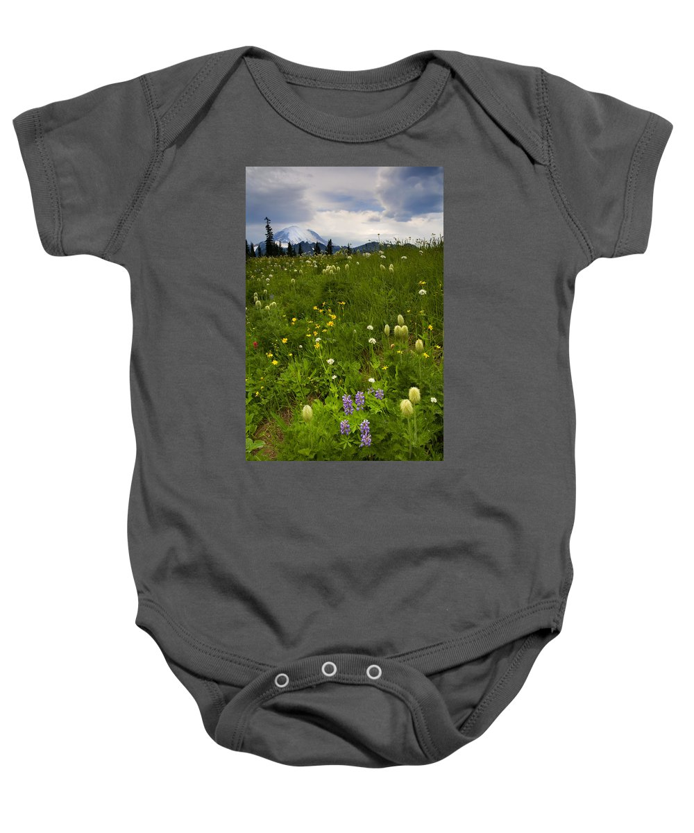 Rainier Baby Onesie featuring the photograph Meadow Beneath The Storm by Mike Dawson