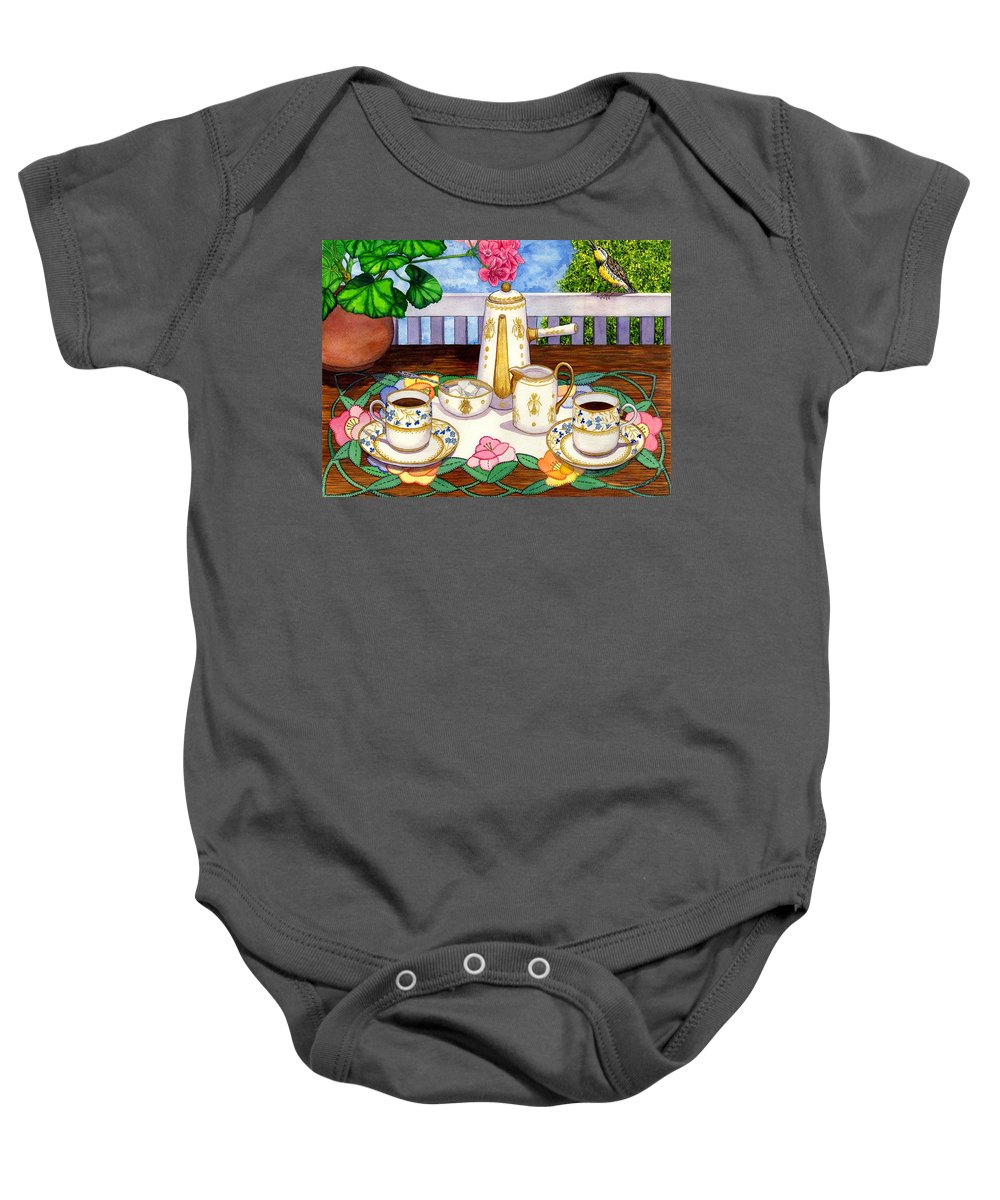 Coffee Baby Onesie featuring the painting Meadowlark by Catherine G McElroy