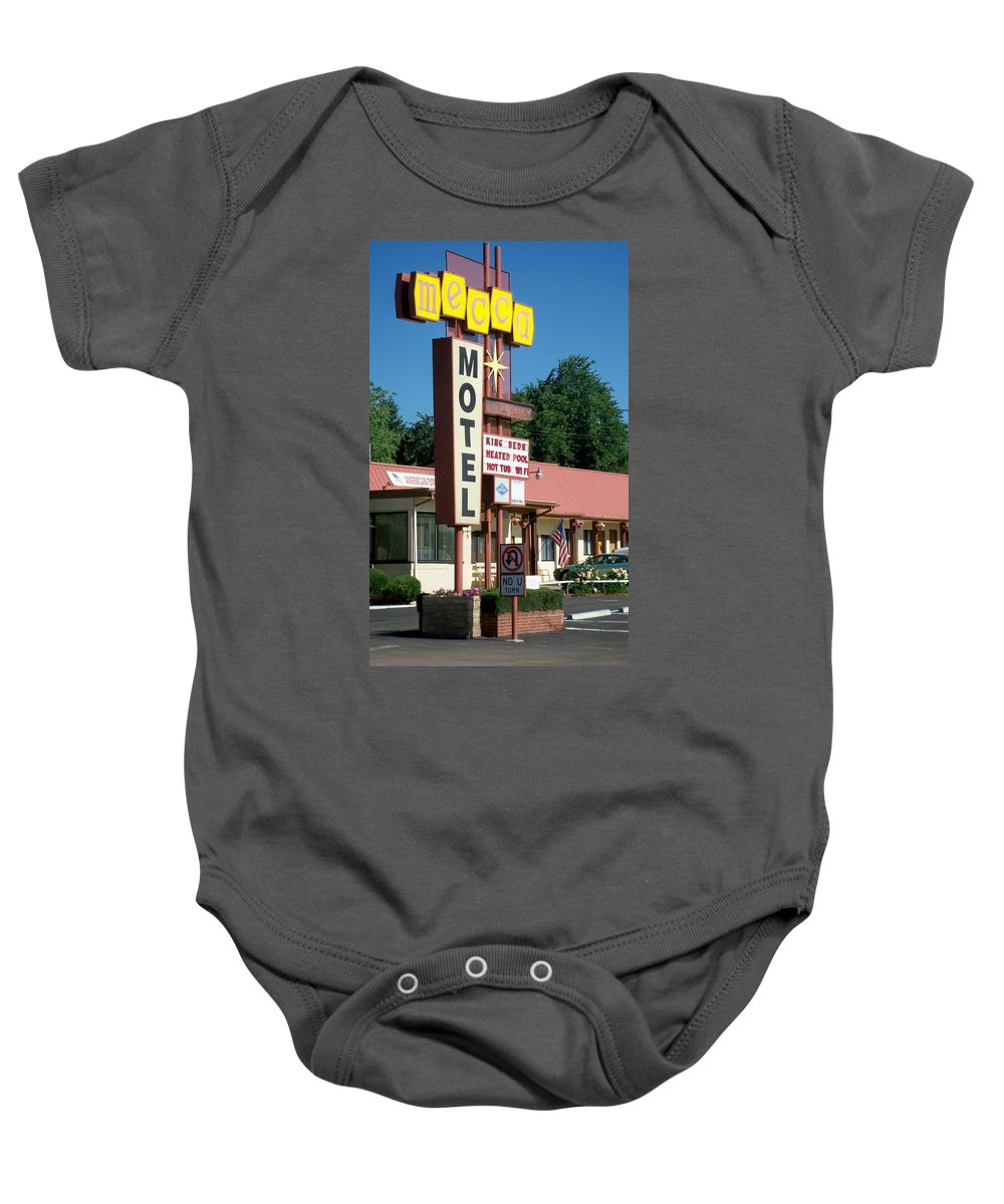 Vintage Motel Signs Baby Onesie featuring the photograph Mecca Motel by Anita Burgermeister