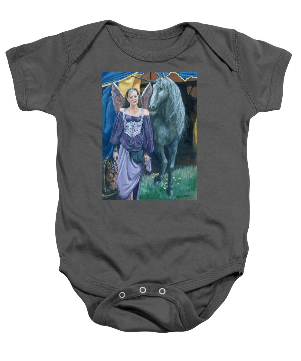 Fairy Faerie Unicorn Dragon Renaissance Festival Baby Onesie featuring the painting Medieval Fantasy by Bryan Bustard