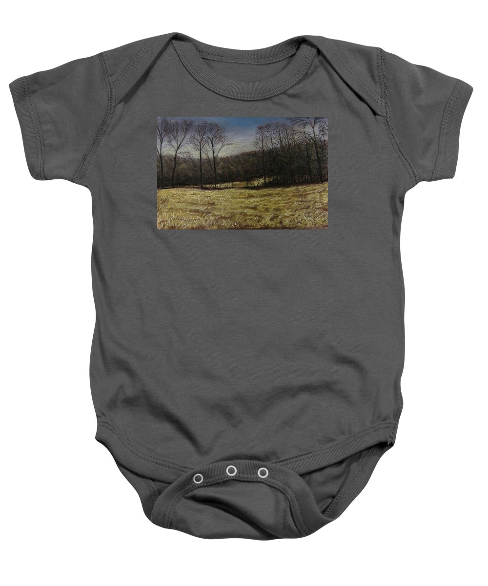 Landscape Baby Onesie featuring the pastel Medina Cornfield by Pat Snook