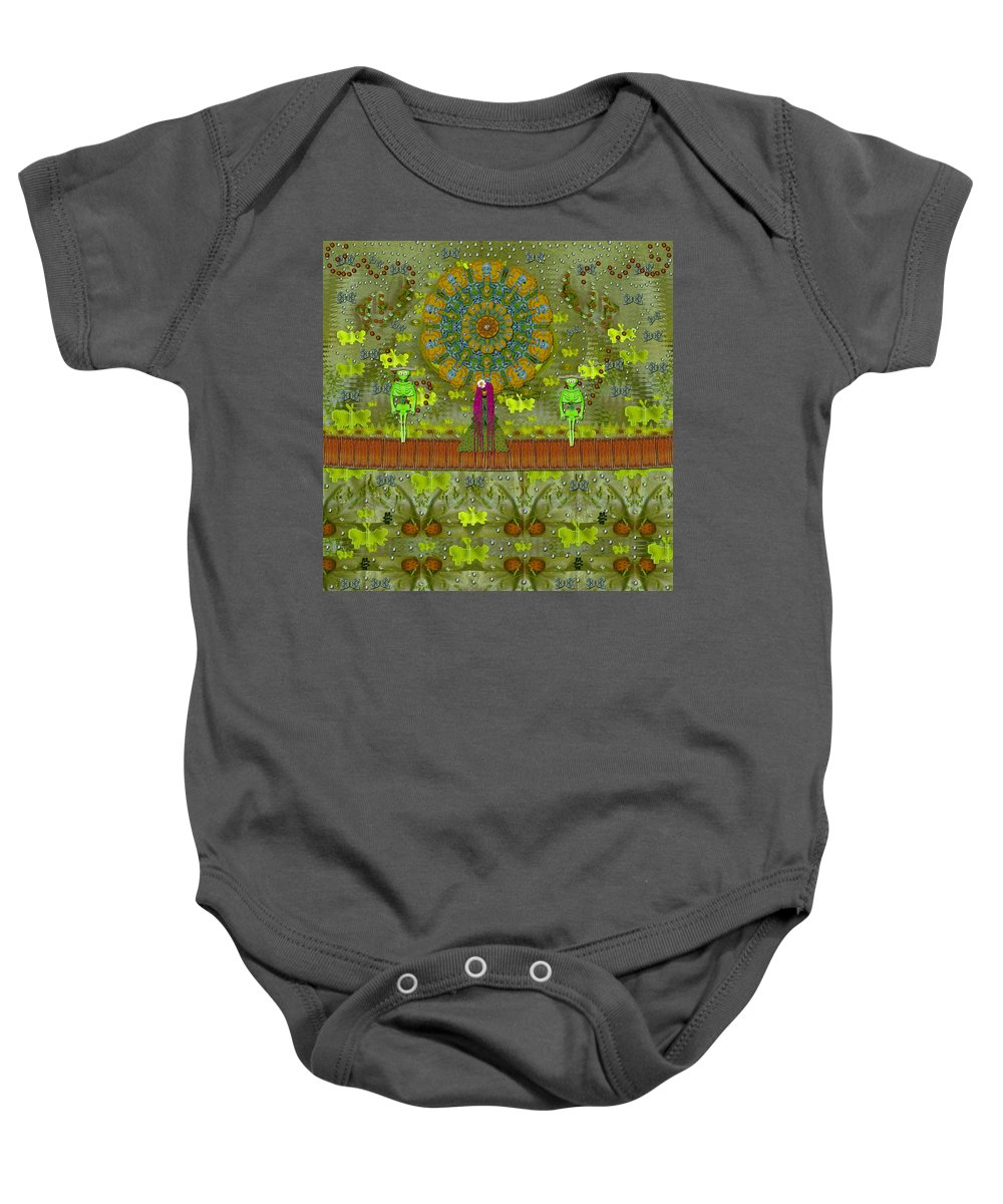 Garden Baby Onesie featuring the mixed media Meditative Garden Got Visit Of Lady Panda And The Floral Skulls by Pepita Selles