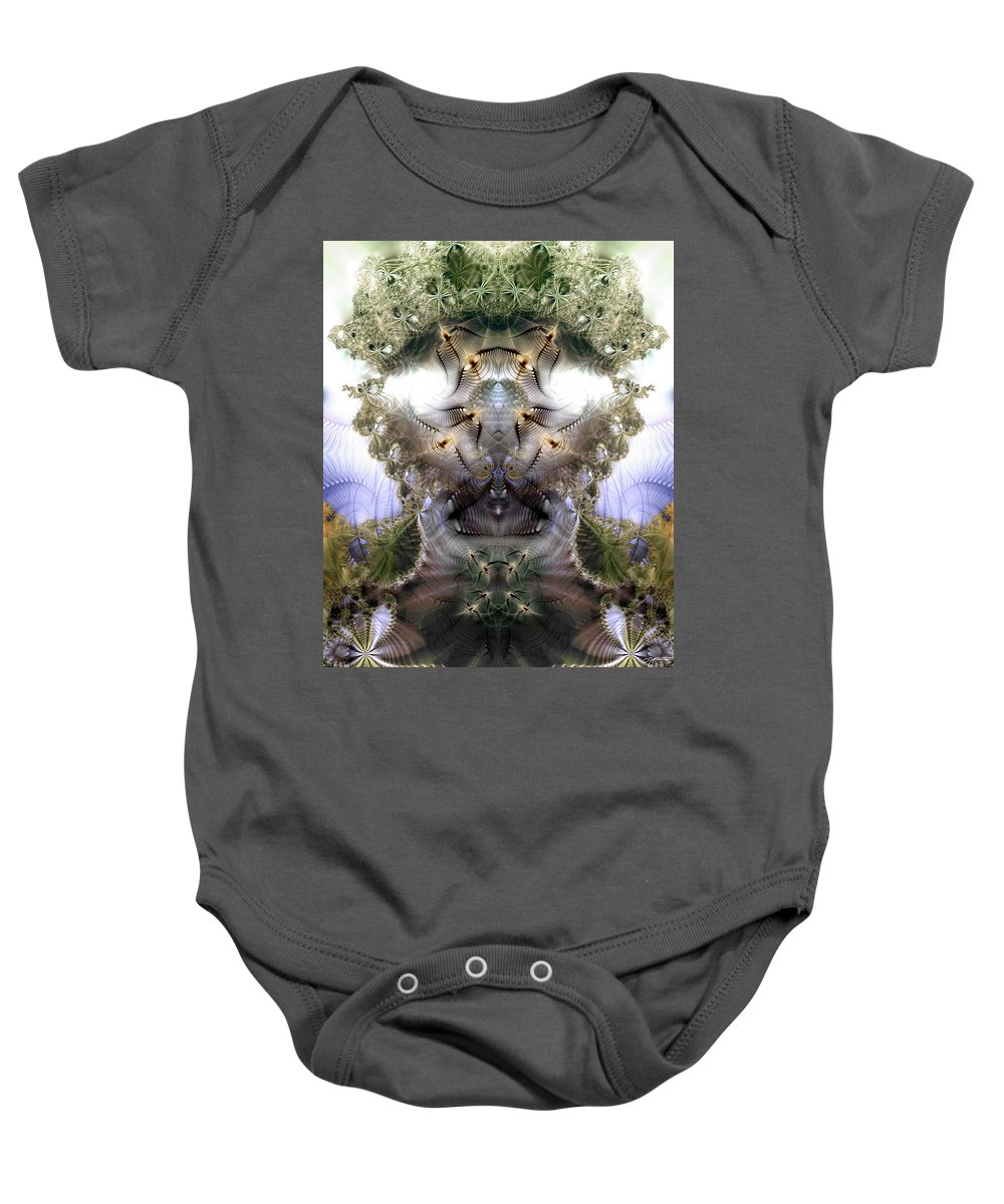 Abstract Baby Onesie featuring the digital art Meditative Symmetry 5 by Casey Kotas