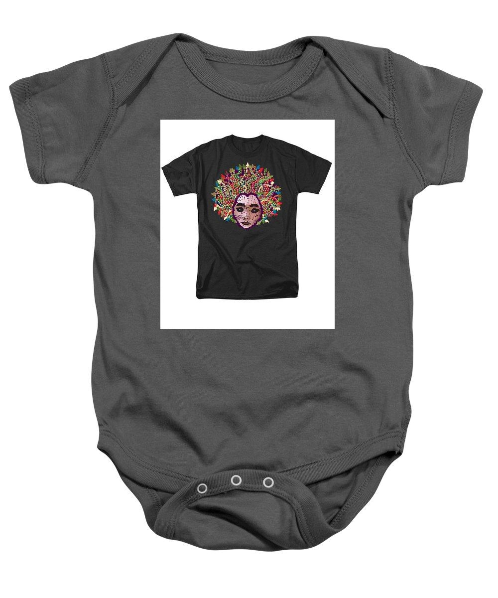 Tee Baby Onesie featuring the digital art Medusa Bedazzled Tee by R Allen Swezey