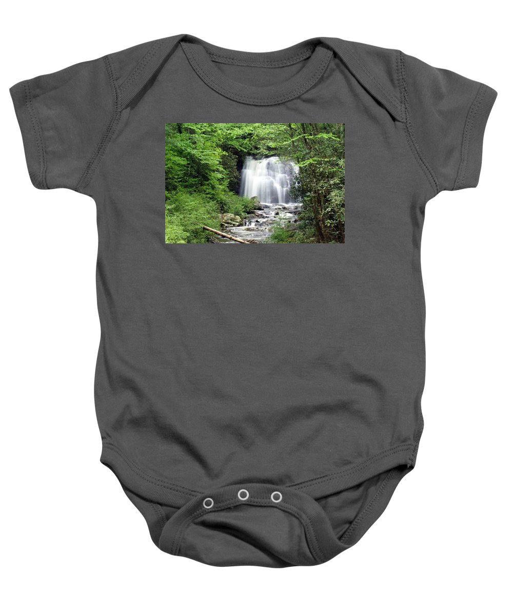 Meigs Falls Baby Onesie featuring the photograph Meigs Falls by Marty Koch