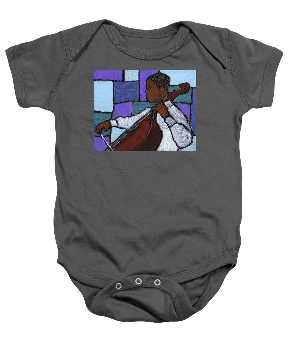 Blues Baby Onesie featuring the painting Mellow Blues by Wayne Potrafka