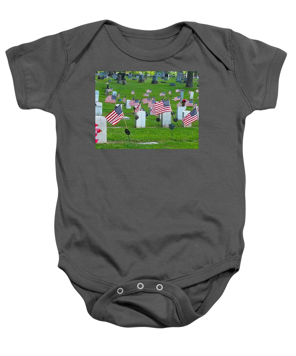 Memorial Day Baby Onesie featuring the photograph Memorial Day Salute by Shelly Dixon