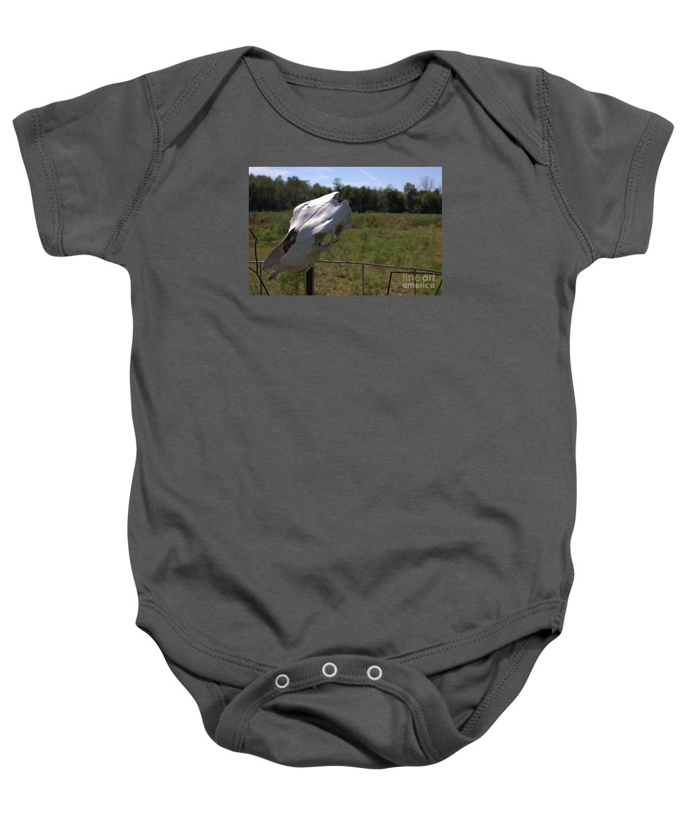 Farm Baby Onesie featuring the photograph Memorial To Mortality by Lee Alexander