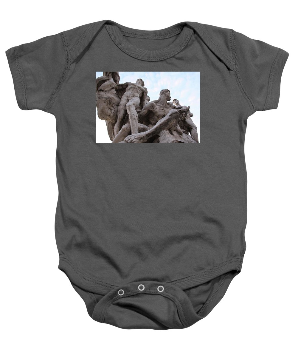 Statue Baby Onesie featuring the photograph Men Together by Nicole Dunkelberger