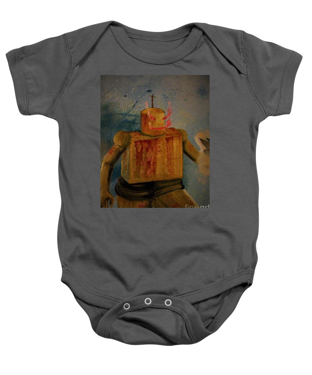 Baby Onesie featuring the painting Menace From Yesterday's Future by Dell Justice