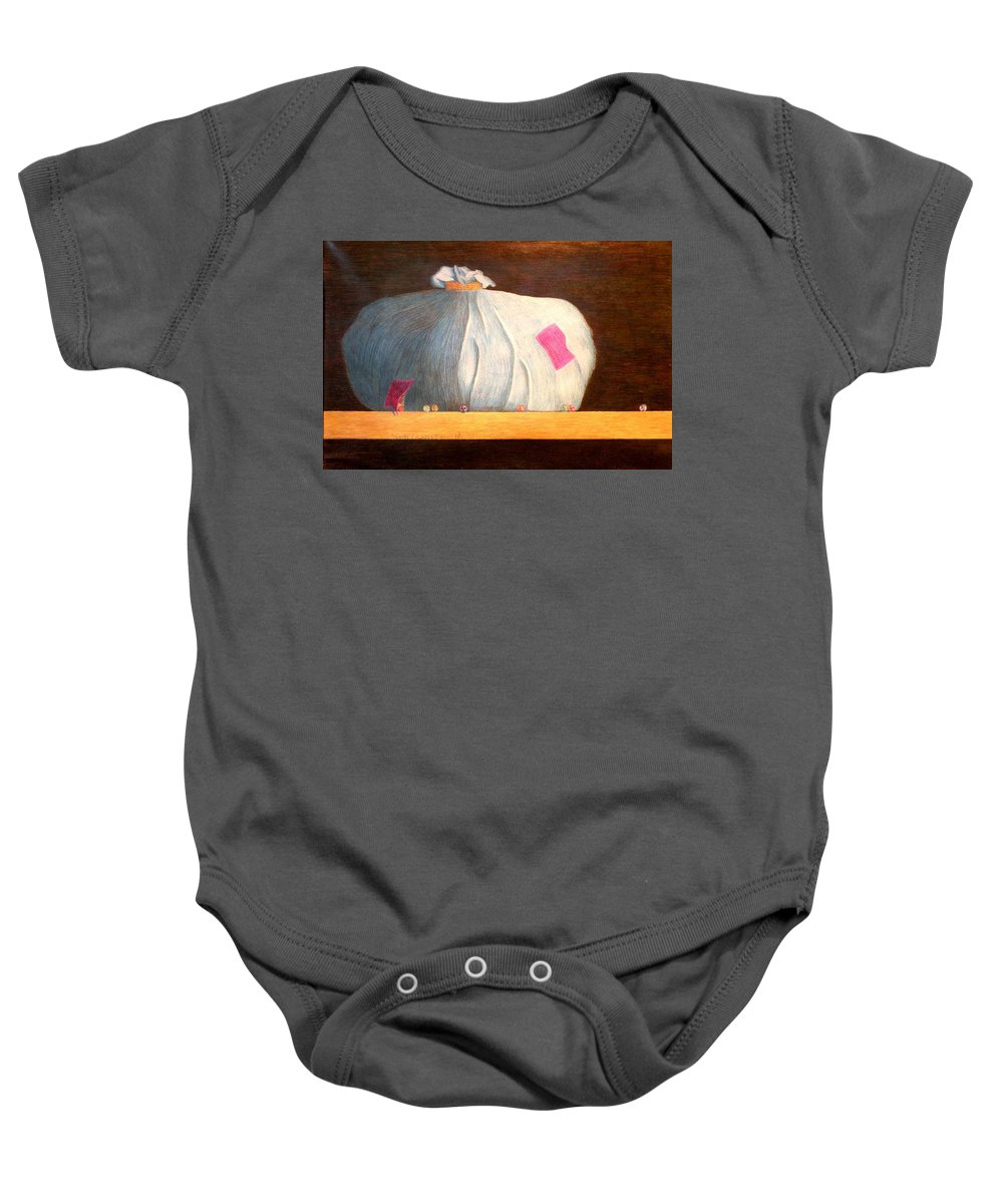 Still Life Baby Onesie featuring the painting Mental Escapees by A Robert Malcom