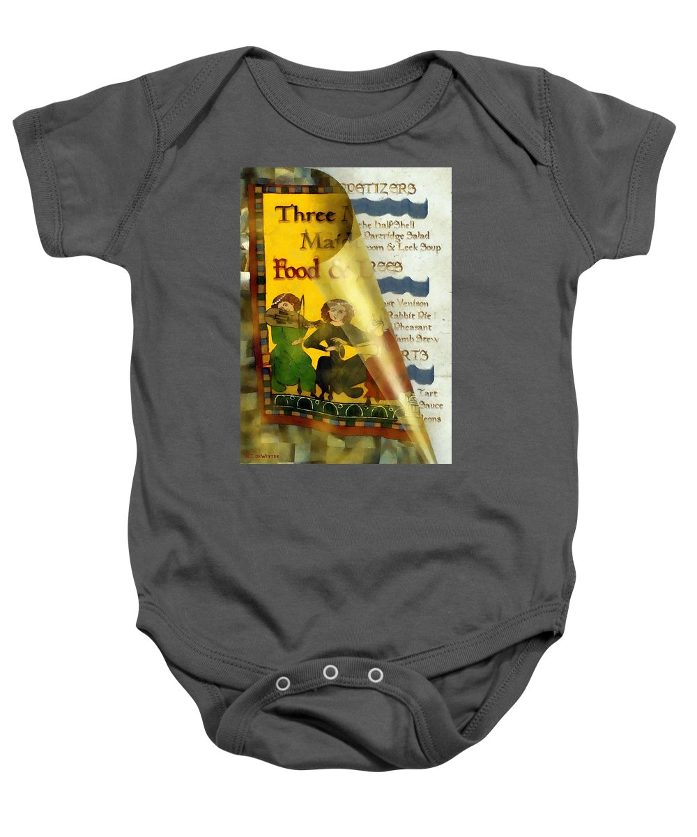 Colorful Baby Onesie featuring the painting Menu From A Medieval Restaurant by RC DeWinter