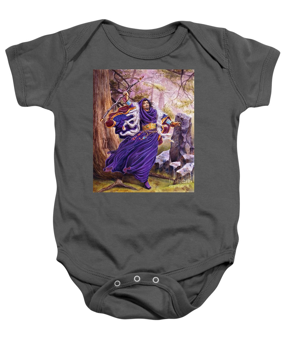Artwork Baby Onesie featuring the painting Merlin by Melissa A Benson