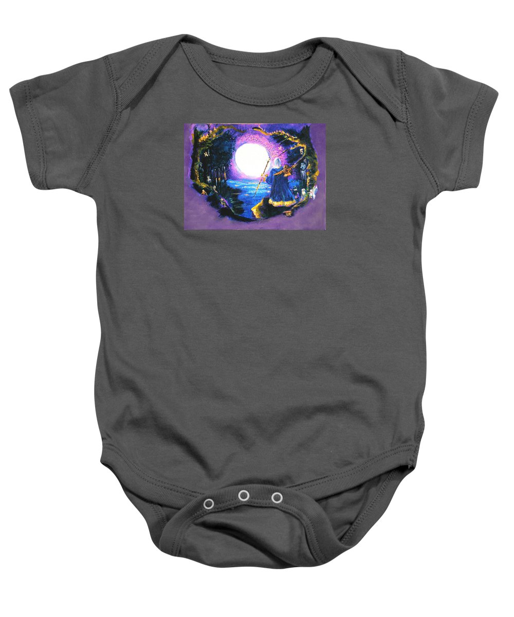 Merlin Baby Onesie featuring the painting Merlin's Moon by Seth Weaver