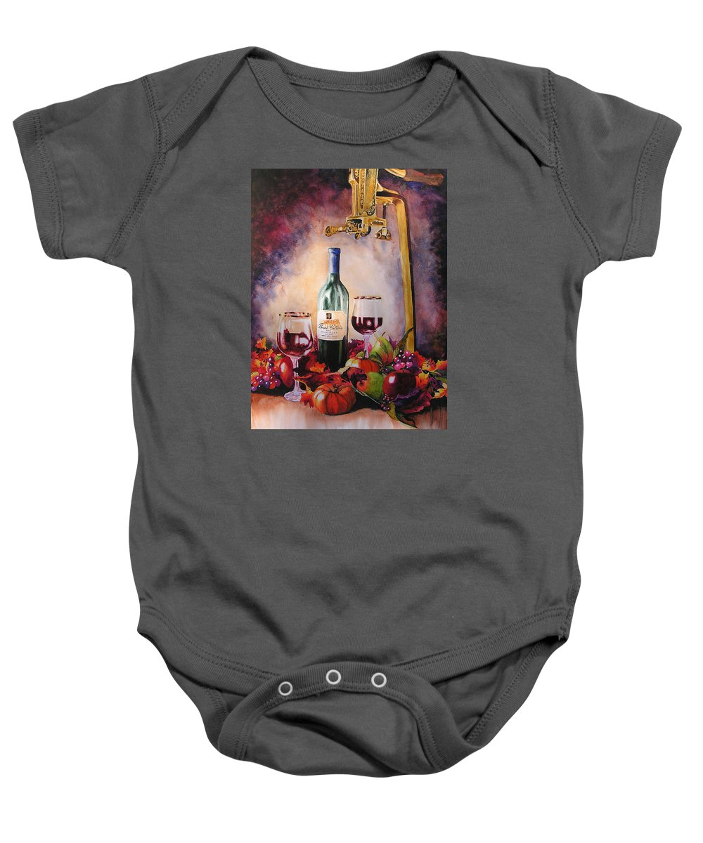 Wine Baby Onesie featuring the painting Merriment by Karen Stark