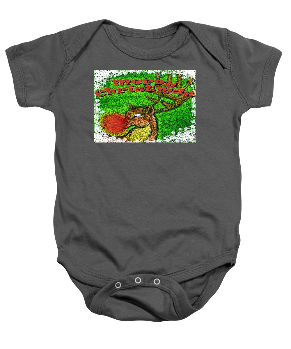 Christmas Baby Onesie featuring the greeting card Merry Christmas by Kevin Middleton