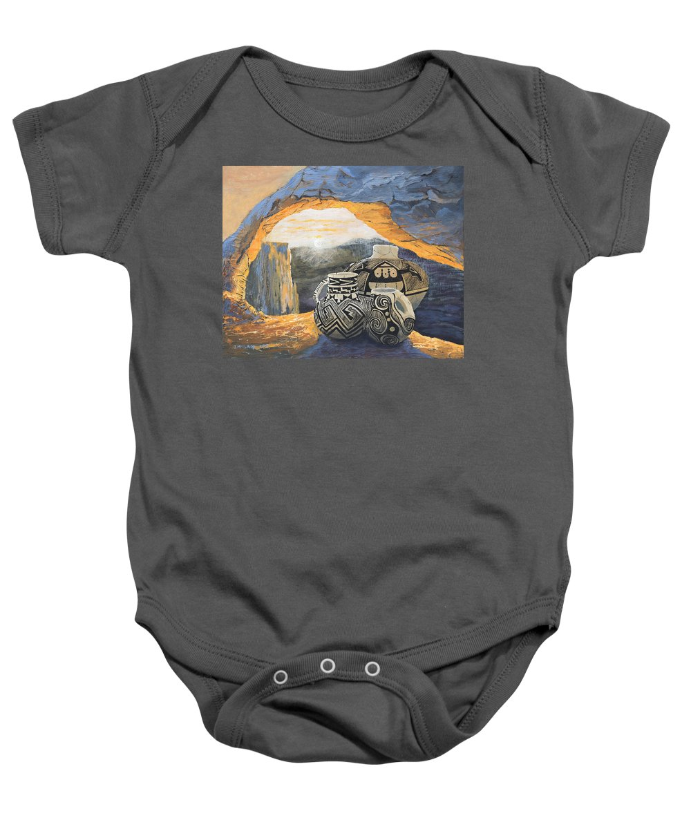Native American Baby Onesie featuring the painting Mesa Arch Magic by Jerry McElroy