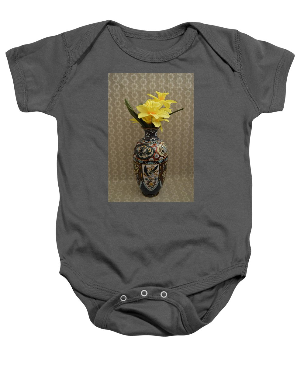 Vase Baby Onesie featuring the photograph Metal Vase With Flowers by Belinda Stucki