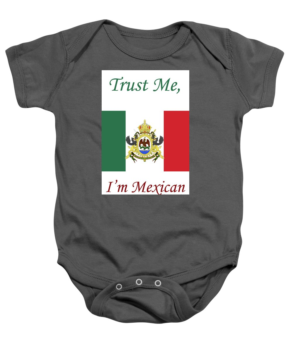 Mexico Baby Onesie featuring the mixed media Mexican Flag by Doc Braham