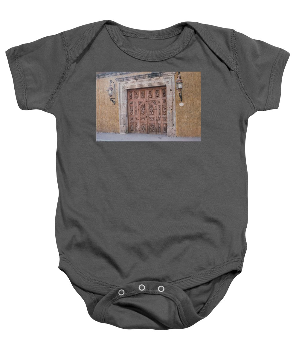 Mexico Baby Onesie featuring the photograph Mexico Door 1 By Tom Ray by First Star Art