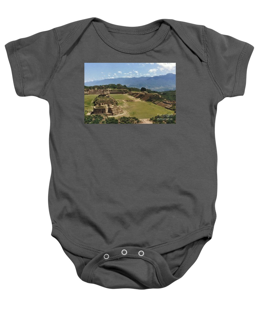 American Indian Baby Onesie featuring the photograph Mexico: Monte Alban by Granger
