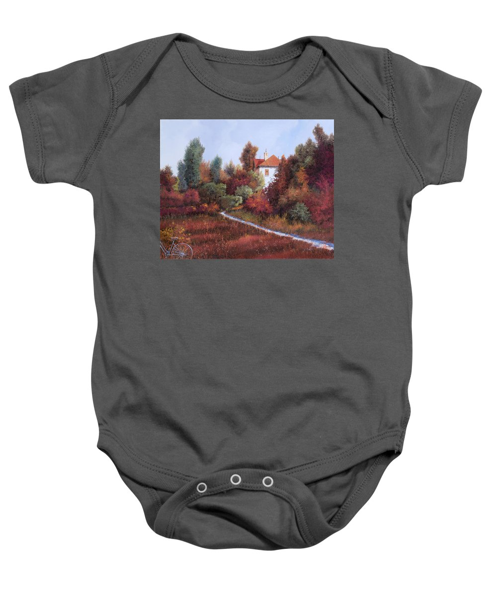 Landscape Baby Onesie featuring the painting Mezza Bicicletta Nel Bosco by Guido Borelli