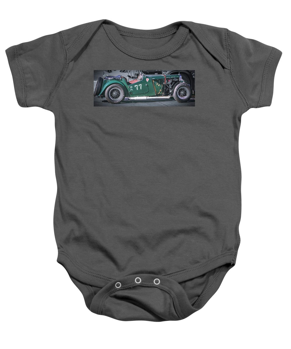 Mg Baby Onesie featuring the photograph Mg-tc Supercharged Side View by David Natho