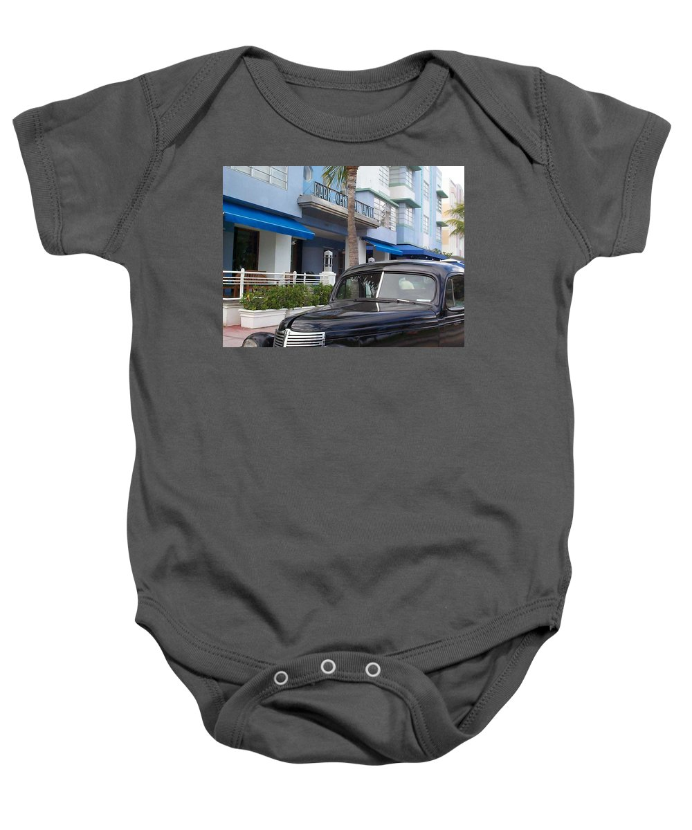 Charity Baby Onesie featuring the photograph Miami Beach by Mary-Lee Sanders