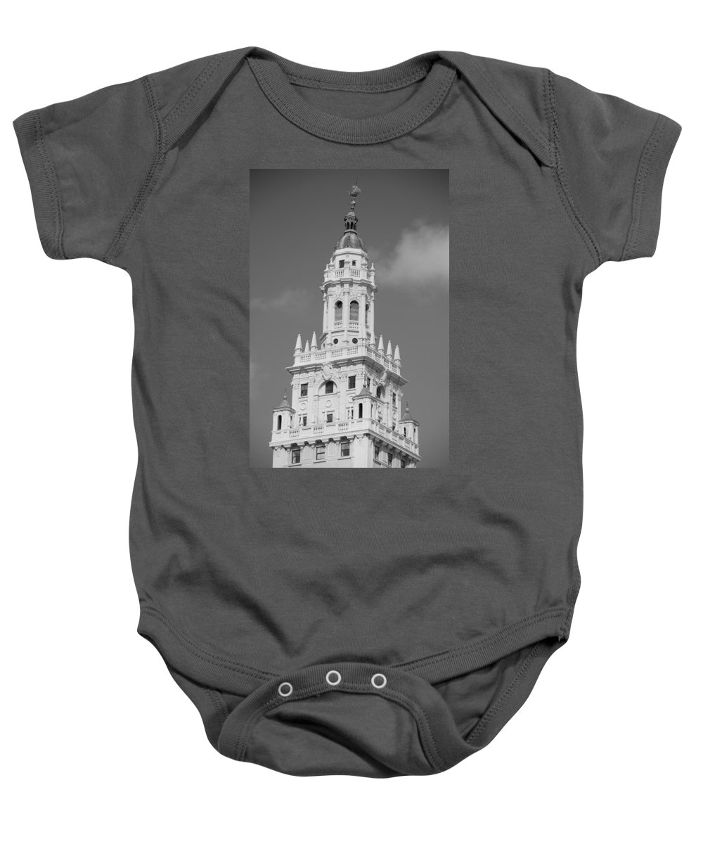 Architecture Baby Onesie featuring the photograph Miami Tower by Rob Hans