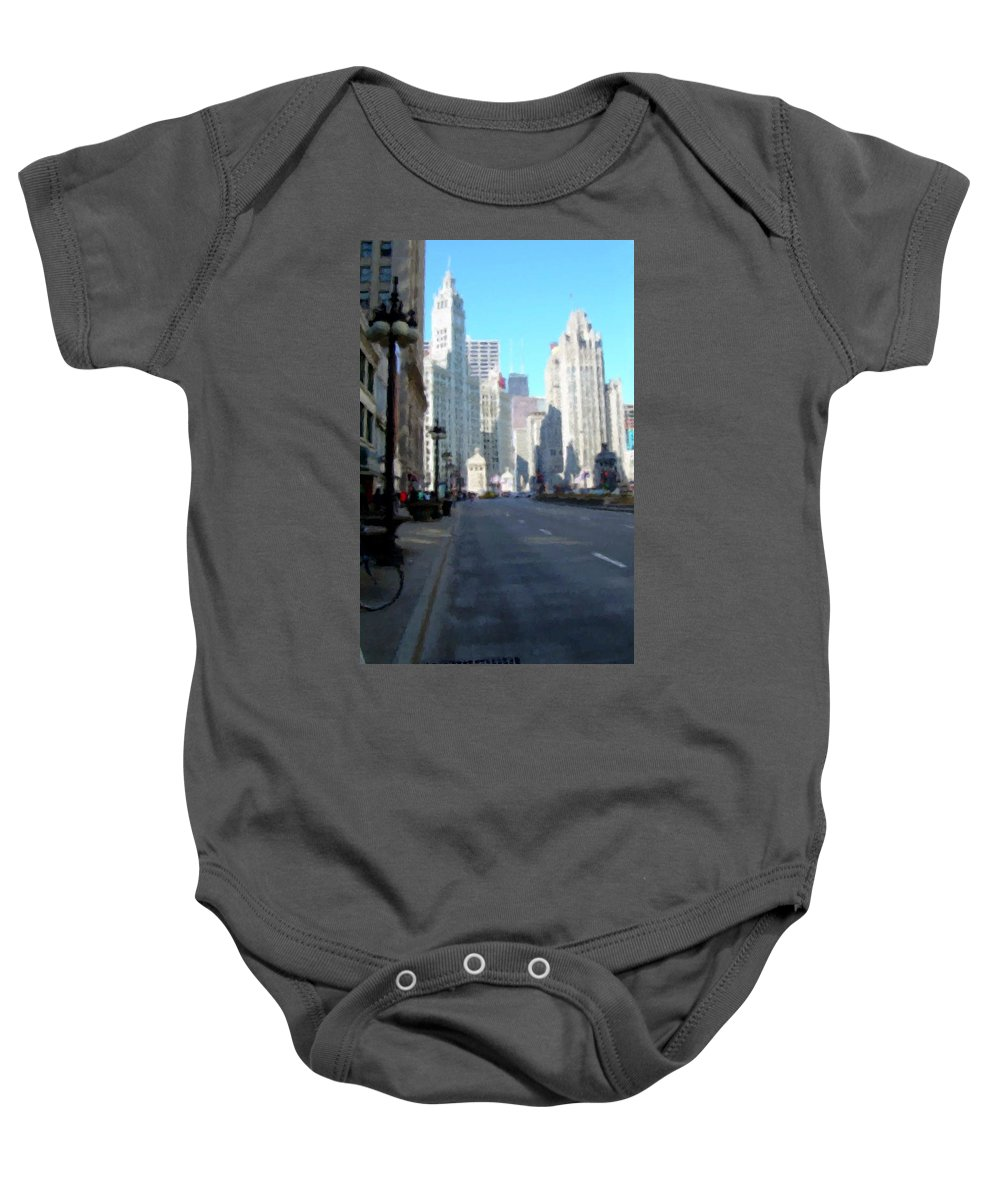 Chicago Baby Onesie featuring the digital art Michigan Ave Tall by Anita Burgermeister