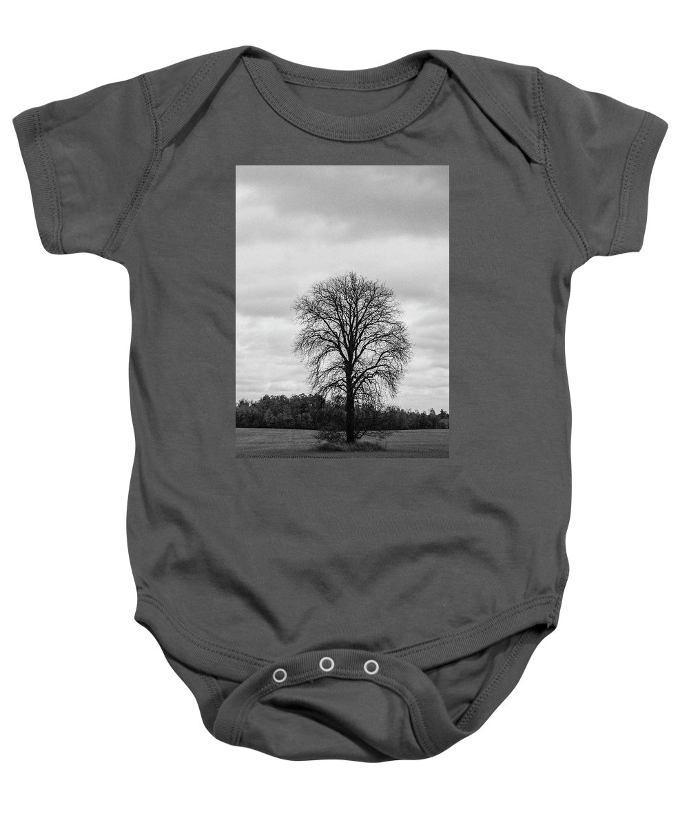 35mm Film Baby Onesie featuring the photograph Michigan Lonley Tree by John McGraw