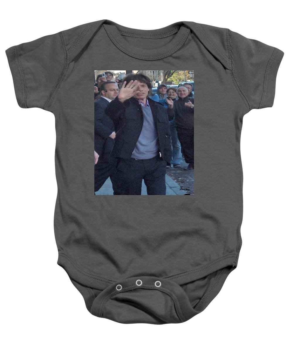 Mick Jagger Rolling Stones Music Rock And Roll Concert Star Musician Singer Baby Onesie featuring the photograph Mick Jagger by Andrea Lawrence