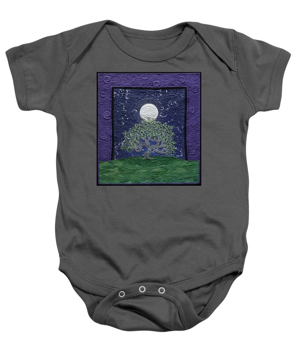 Landscape Baby Onesie featuring the tapestry - textile Midnight Dance by Dottie Moore
