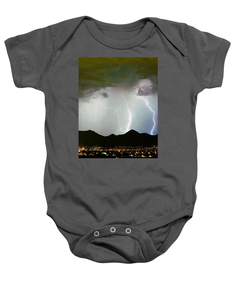 Lightning Baby Onesie featuring the photograph Midnight Hour by James BO Insogna
