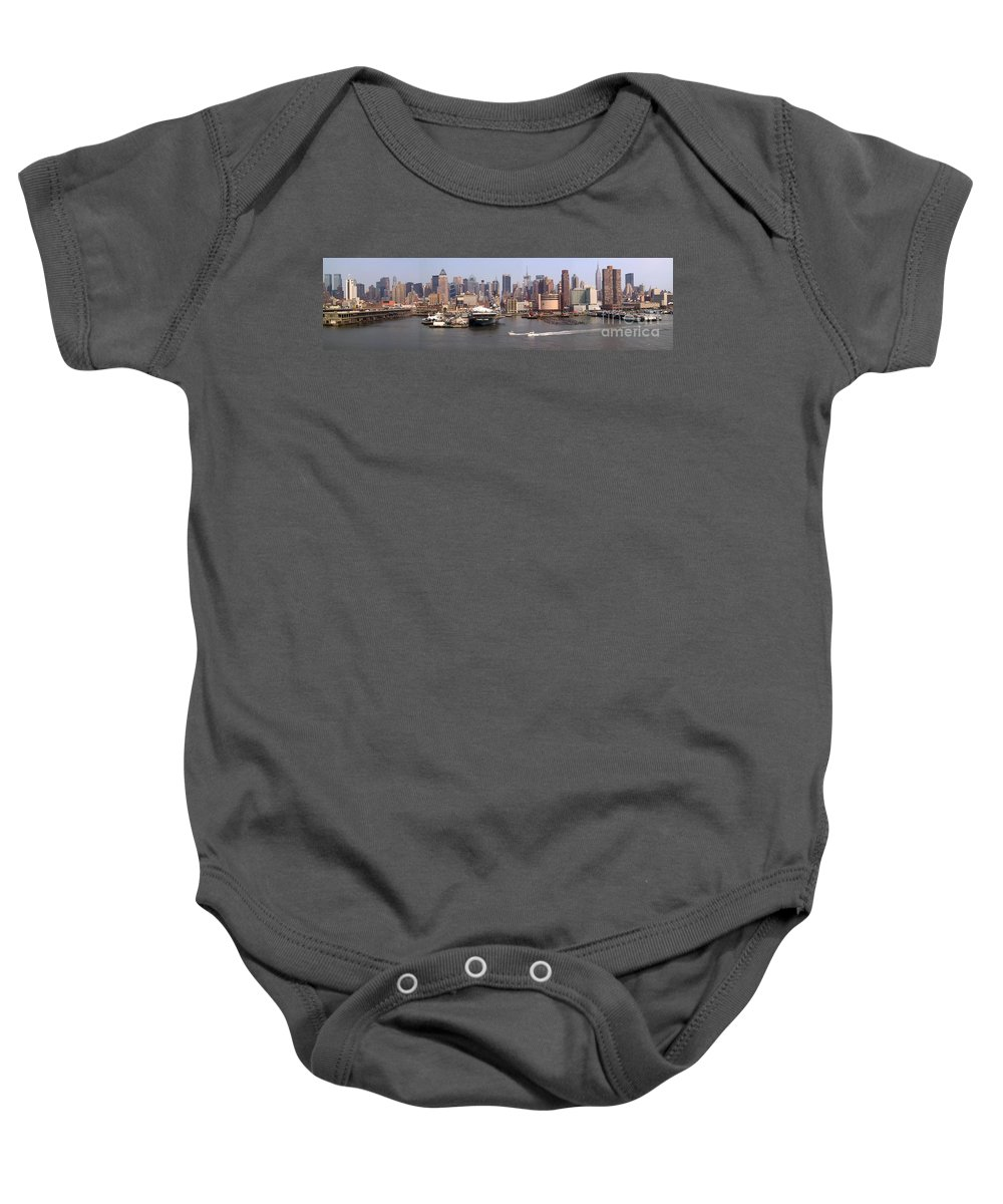 Manhattan Baby Onesie featuring the photograph Midtown Manhattan Panorama by Thomas Marchessault