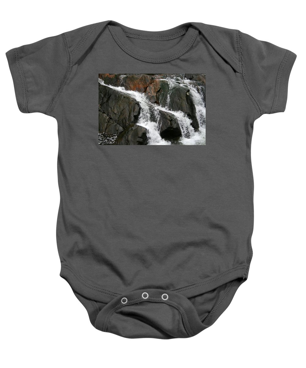 Water Waterfall Rush Rushing Cold River Creek Stream Rock Stone Wave White Wet Baby Onesie featuring the photograph Might by Andrei Shliakhau