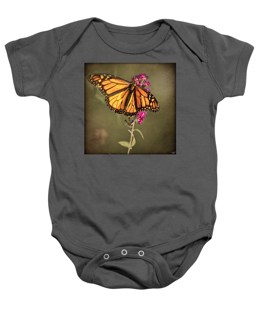 Monarch Baby Onesie featuring the photograph Migrant Worker by Chris Lord