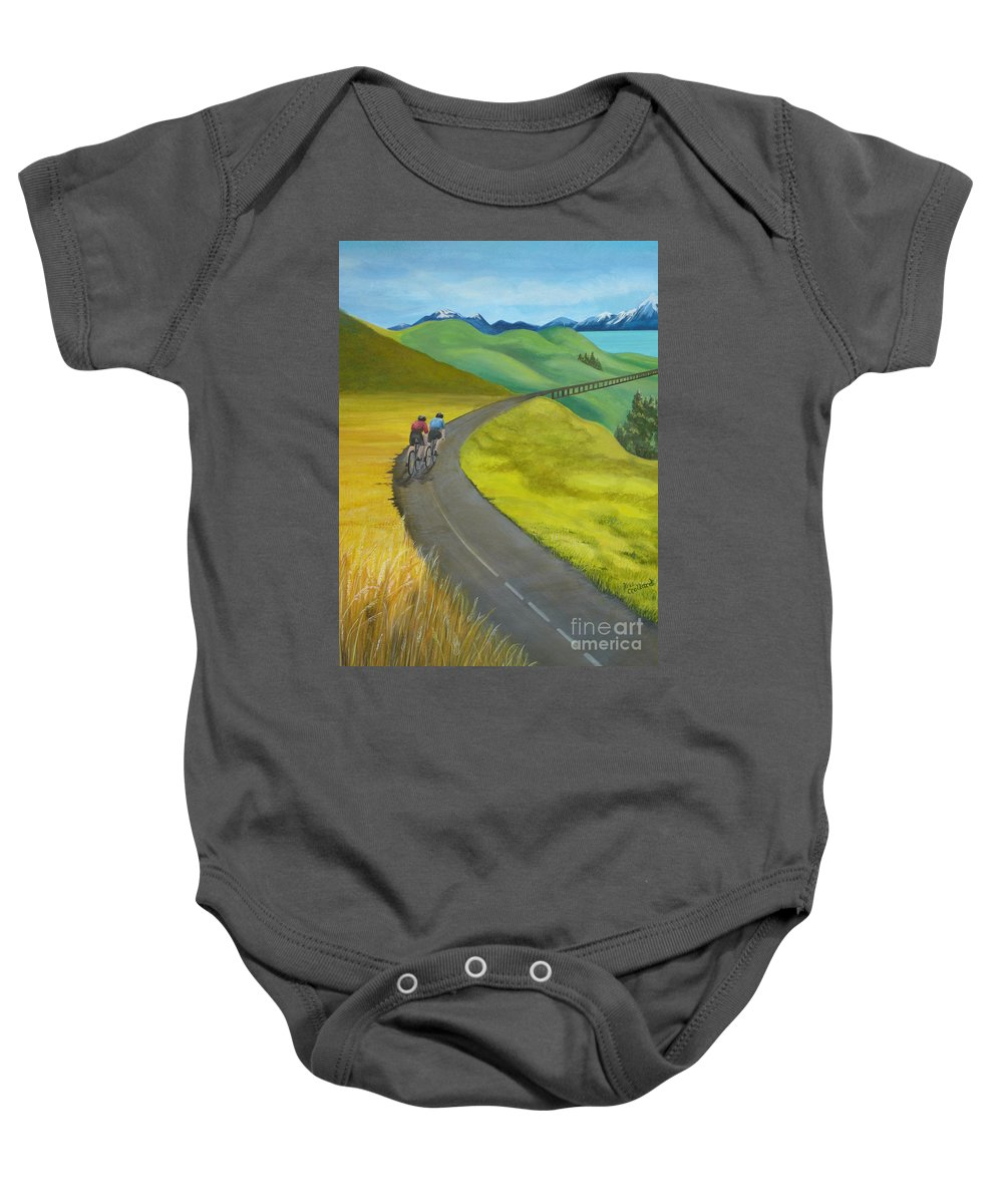 Bicycles Baby Onesie featuring the painting Miles To Go by Kris Crollard