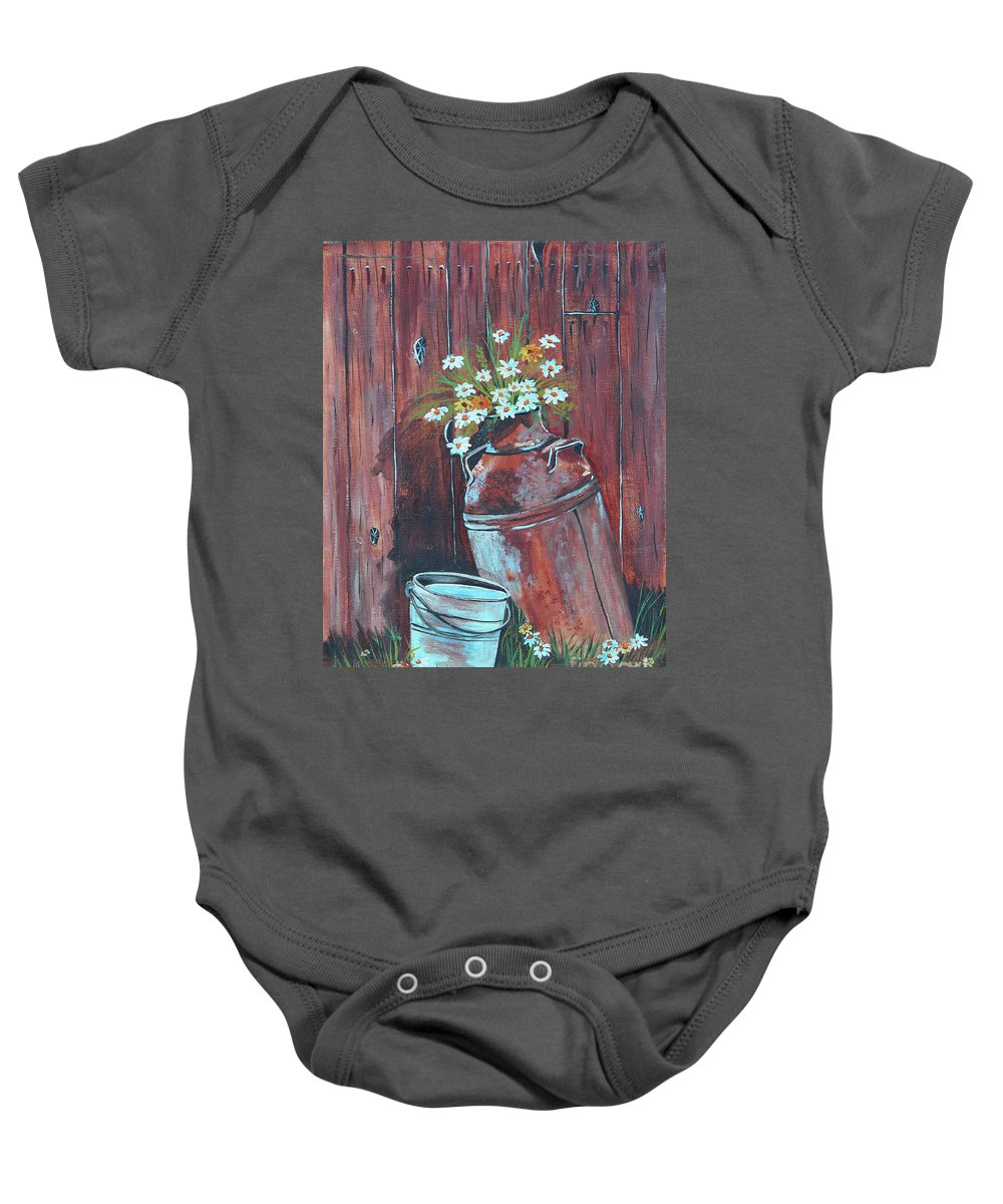 Old Mild Can Baby Onesie featuring the painting Milk Can Of Daisy's by Betty McGregor