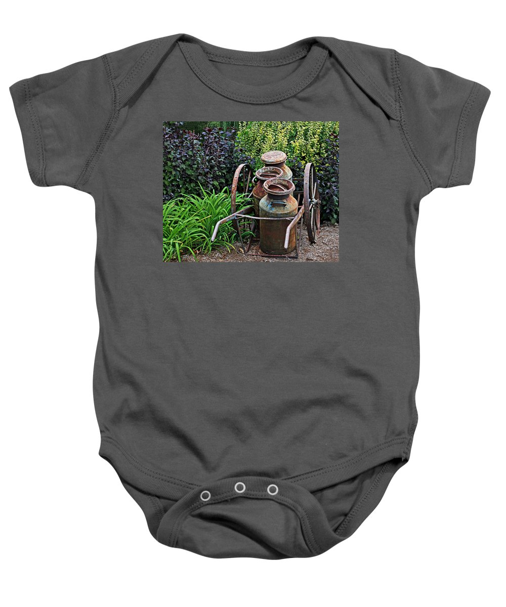 Aged Baby Onesie featuring the photograph Milk Pails by Judy Vincent